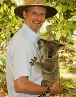 Laurent hugging a Koala