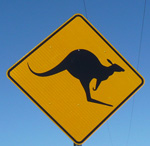 kangaroo road sign near to the University of the Sunshine Coast (photo L.Borgmann)