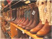 rows and rows of Cowboy boots int a shop in Austin, Texas